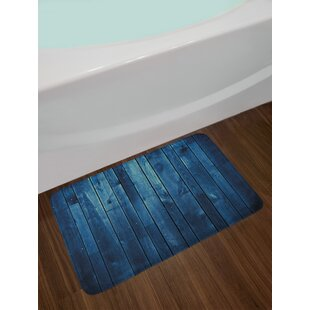 Wooden Dark Blue Bath Rug