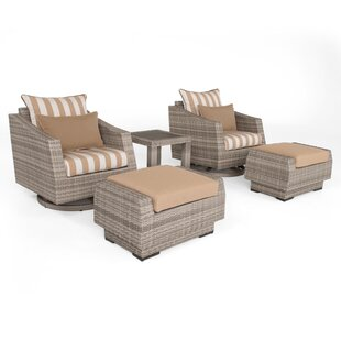 Greenfield Deluxe 5 Piece Rattan Sunbrella Conversation Set with Cushions by Wade Logan