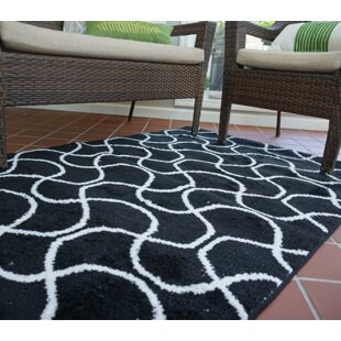 Order One-of-a-Kind Algedi Infinity Black/White Area Rug ByWrought Studio