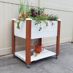 Vinyl Wrapped Elevated Oak Raised Garden With Shelf