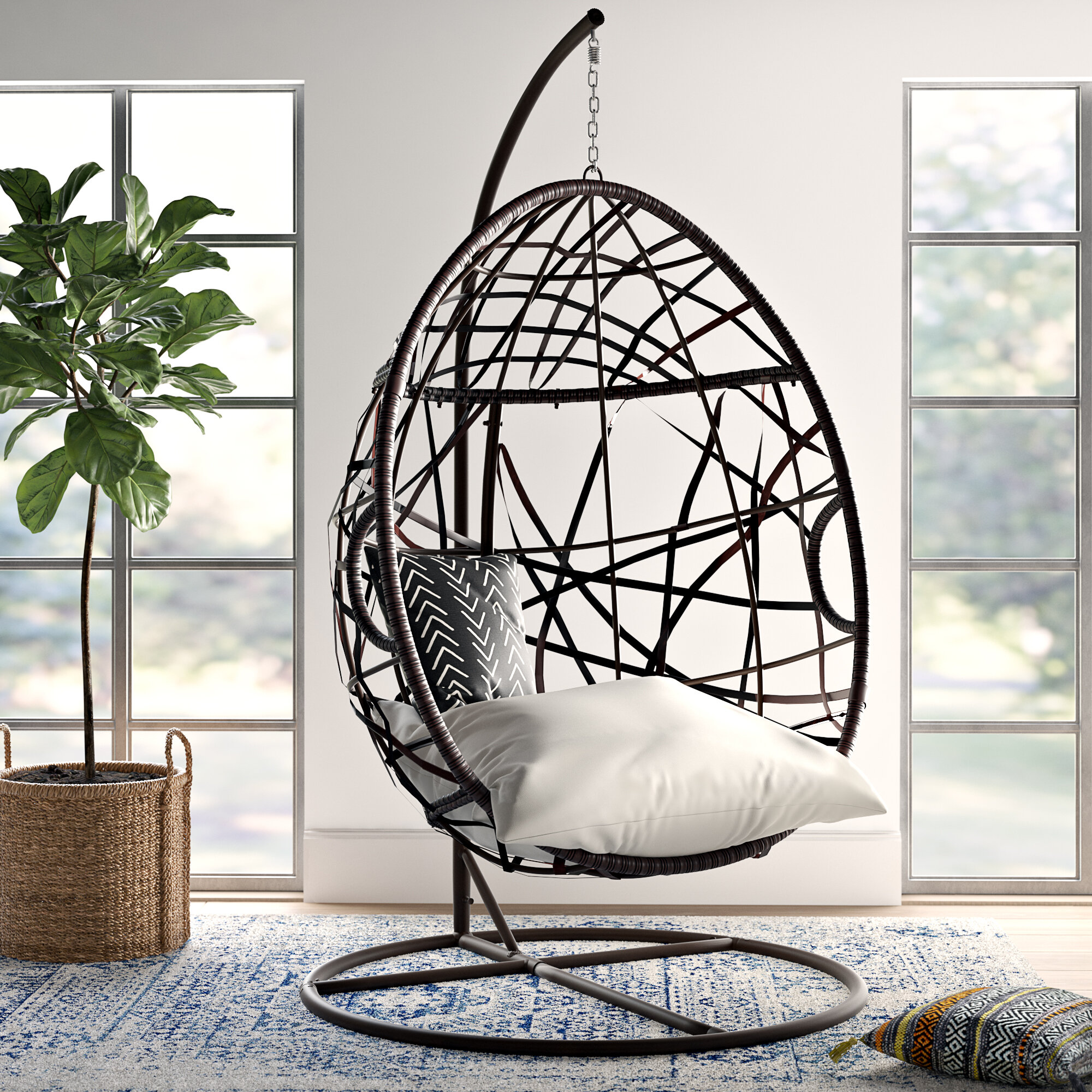 Anner Tear Drop Swing Chair With Stand