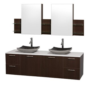 Bargain Amare 72 Double Espresso Bathroom Vanity Set with Medicine Cabinet By Wyndham Collection