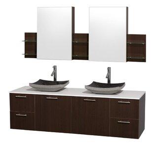 Check Prices Amare 72 Double Espresso Bathroom Vanity Set with Medicine Cabinet ByWyndham Collection