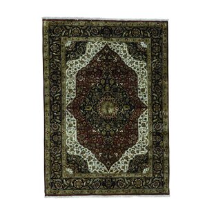 Best Choices One-of-a-Kind Mair Fine Kashan Hand-Knotted Wool Red/Black Area Rug ByAstoria Grand