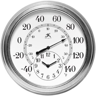 outdoor thermometers you ll love wayfair Analog Clock 5 AM prague thermometer and clock
