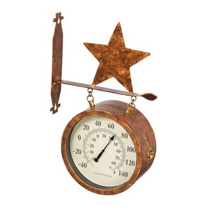 kentish 2sided outdoor wall clock and thermometer with star icon