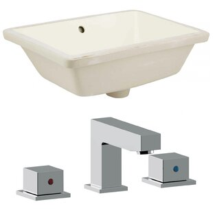 Read Reviews Ceramic Rectangular Undermount Bathroom Sink with Faucet and Overflow By American Imaginations