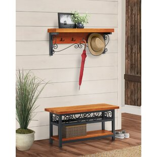 Carrollton Scrollwork Coat Hook and Bench Hall Tree by Loon Peak