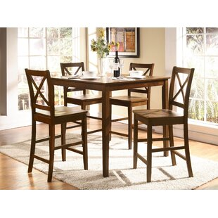Hiott 5 Piece Counter Height Solid Wood Dining Set