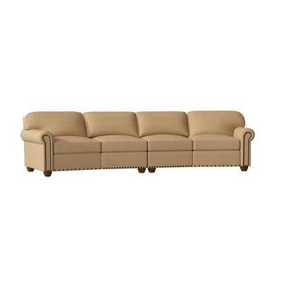 "Dominion Genuine Leather 144"""" Rolled Arm Sofa Omnia Leather Body Fabric: Softsations Swiss Coffee, Leg Color: Cherry, Nailhead Detail: Small Chrome To -  Dom 4C-Con.Sofa - 13102-Softs. Swiss Coffee-Cher-Sm Chrome Tou"