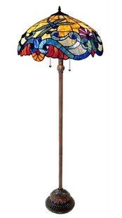 Multi colored shade floor lamps youll love wayfair malloway dragonfly 63 floor lamp mozeypictures Choice Image