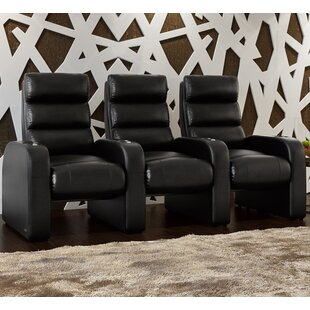 Bonded Leather Manual Rocker Recline Home Theater Sofa (Row of 3) By Latitude Run