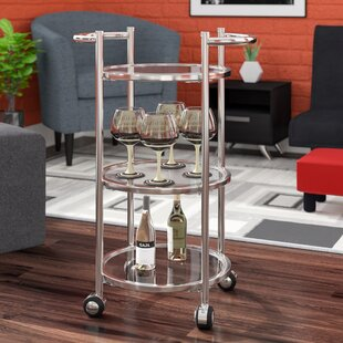 Dudek Modern Iron/Glass Bar Cart by Ebern Designs