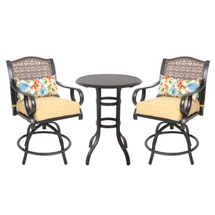Sierra 3 Piece Bar Height Dining Set with Cushions
