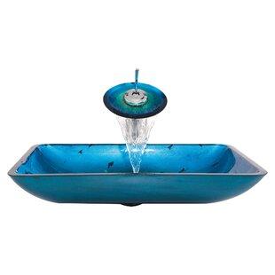 Kraus Galaxy Glass Rectangular Vessel Bathroom Sink with Faucet