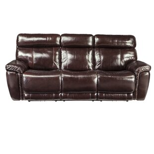 Great price Monty Leather Reclining Sofa Red Barrel Studio