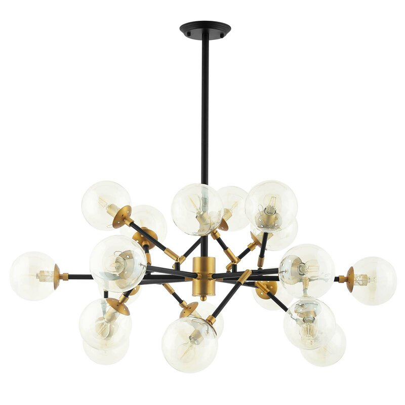 Gribble 18-Light Sputnik Modern Linear Chandelier