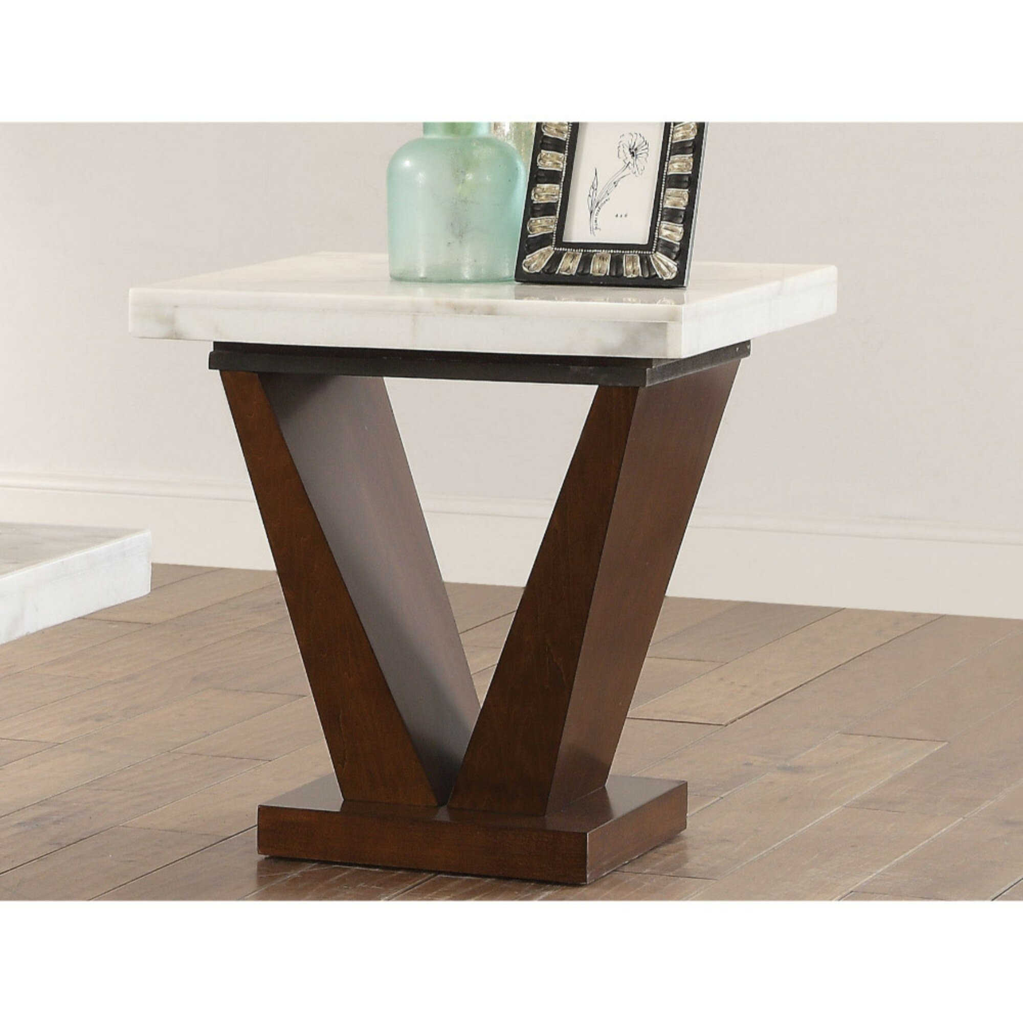 Picture of: Orren Ellis Mortenson Square Marble Top Wooden V Shape Base End Table