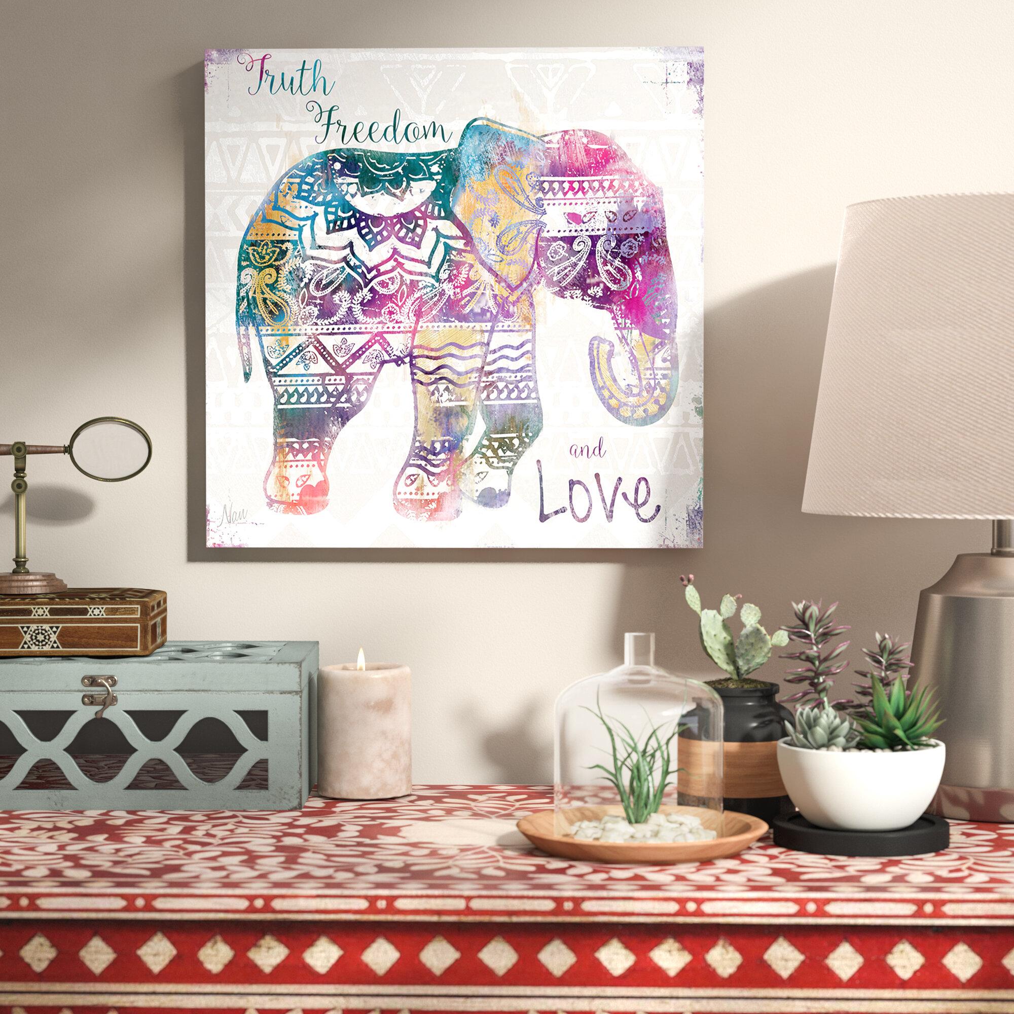 'Boho Elephant' Graphic Art Print on Wrapped Canvas