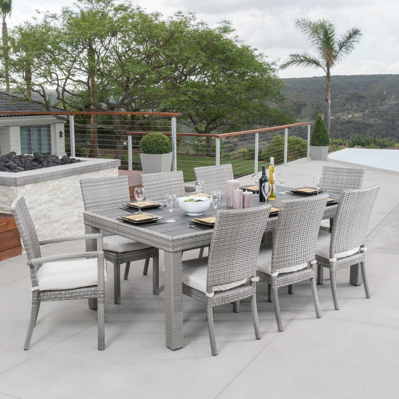 Merveilleux Castelli 9 Piece Sunbrella Dining Set With Cushions
