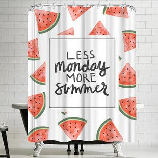 Jetty Printables Less Monday More Summer Watermelon Typography Single Shower Curtain
