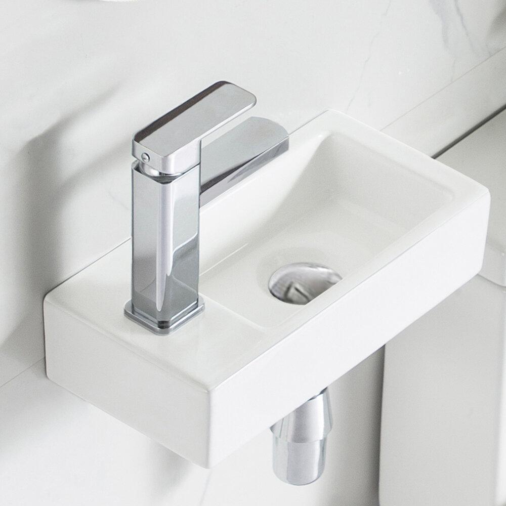 Deervalley White Ceramic Rectangular Wall Mounted Bathroom Sink Reviews Wayfair