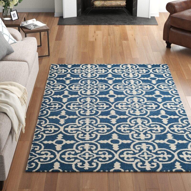 Three Posts Byron Geometric Handmade Tufted Wool Navy Blue Ivory Area Rug Reviews Wayfair Ca