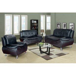 Crocker 3 Piece Leather Living Room Set By Orren Ellis