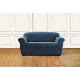 Stretch Grand Marrakesh Box Cushion Loveseat Slipcover