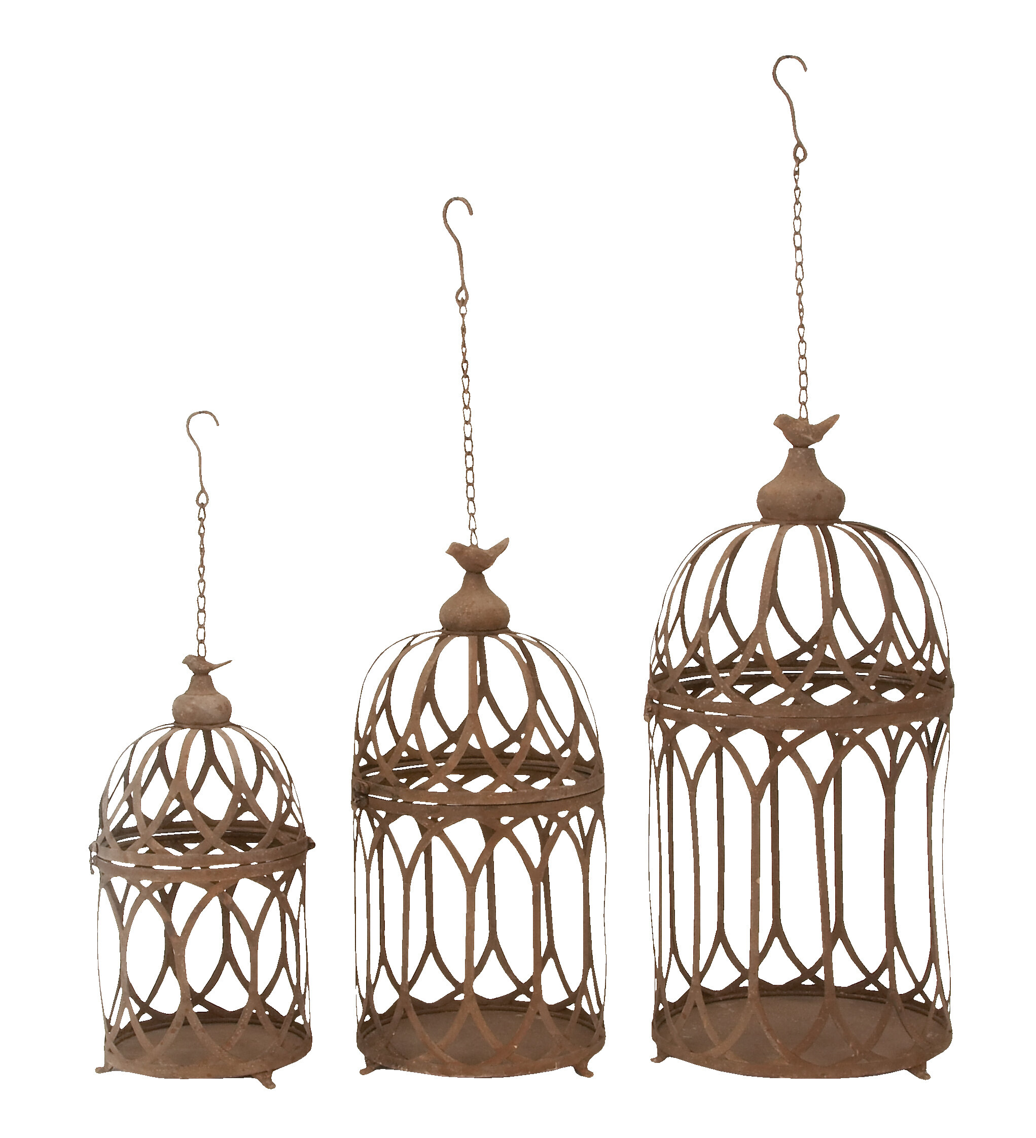 Ophelia Co Feliciano Round Hanging Birdcage 3 Piece Wall Decor Set Wayfair