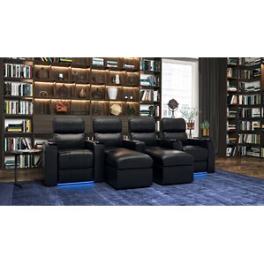 Contemporary Leather Home Theater Sofa (Row of 4) by Red Barrel Studio