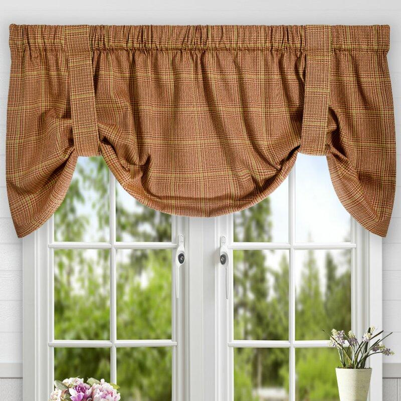tie up window valance morrison plaid cotton tieup curtain valance ellis reviews