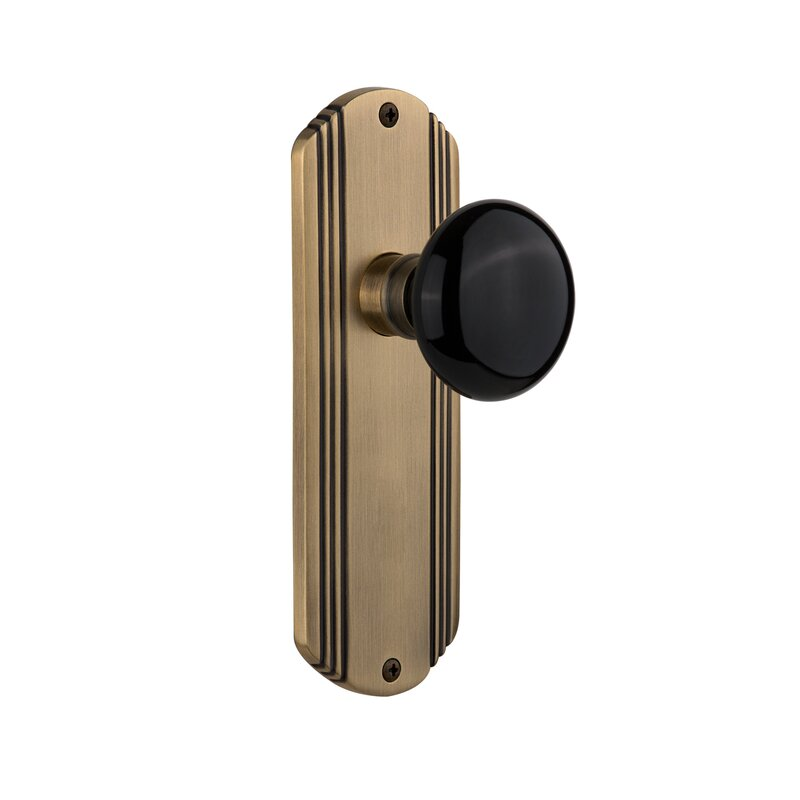 Nostalgic Warehouse Black Porcelain Privacy Door Knob With Deco Long Plate Wayfair