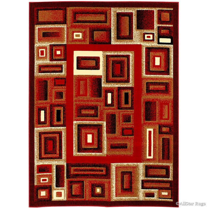 Cotswold Bordered Red Area Rug