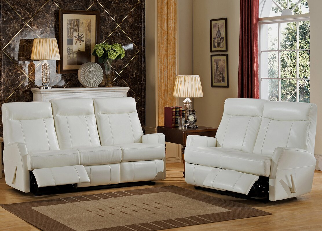 Elegant Toledo 2 Piece Leather Living Room Set