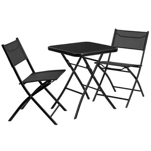 Freeport Park Ayla 3 Piece Metal and Tempered Glass Outdoor Dining Set