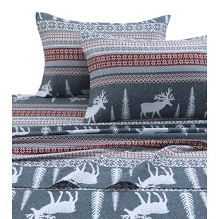 The Holiday Aisle Winter Reindeer 170-GSM Printed Flannel Extra Deep Pocket 100% Cotton Sheet Set