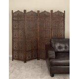 Madalyn 80'' W x 72'' H 4 - Panel Solid Wood Folding Room Divider