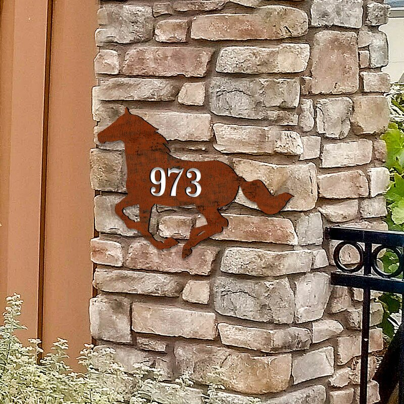Designocracy Horse House Door Wall Mailbox Address Number 1 Line Plaque Stable Sign Wayfair