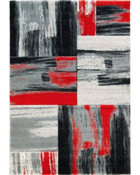 Ebern Designs Croskey Abstract Red Gray Area Rug Wayfair