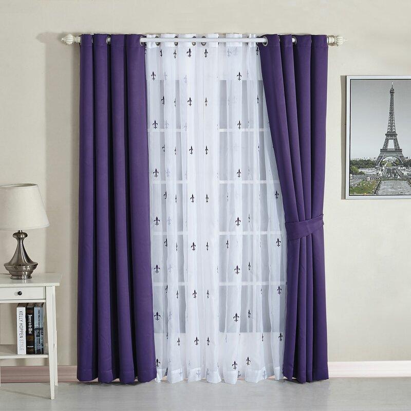 fleur de lis geometric semi sheer thermal curtain panels - Thermal Curtains