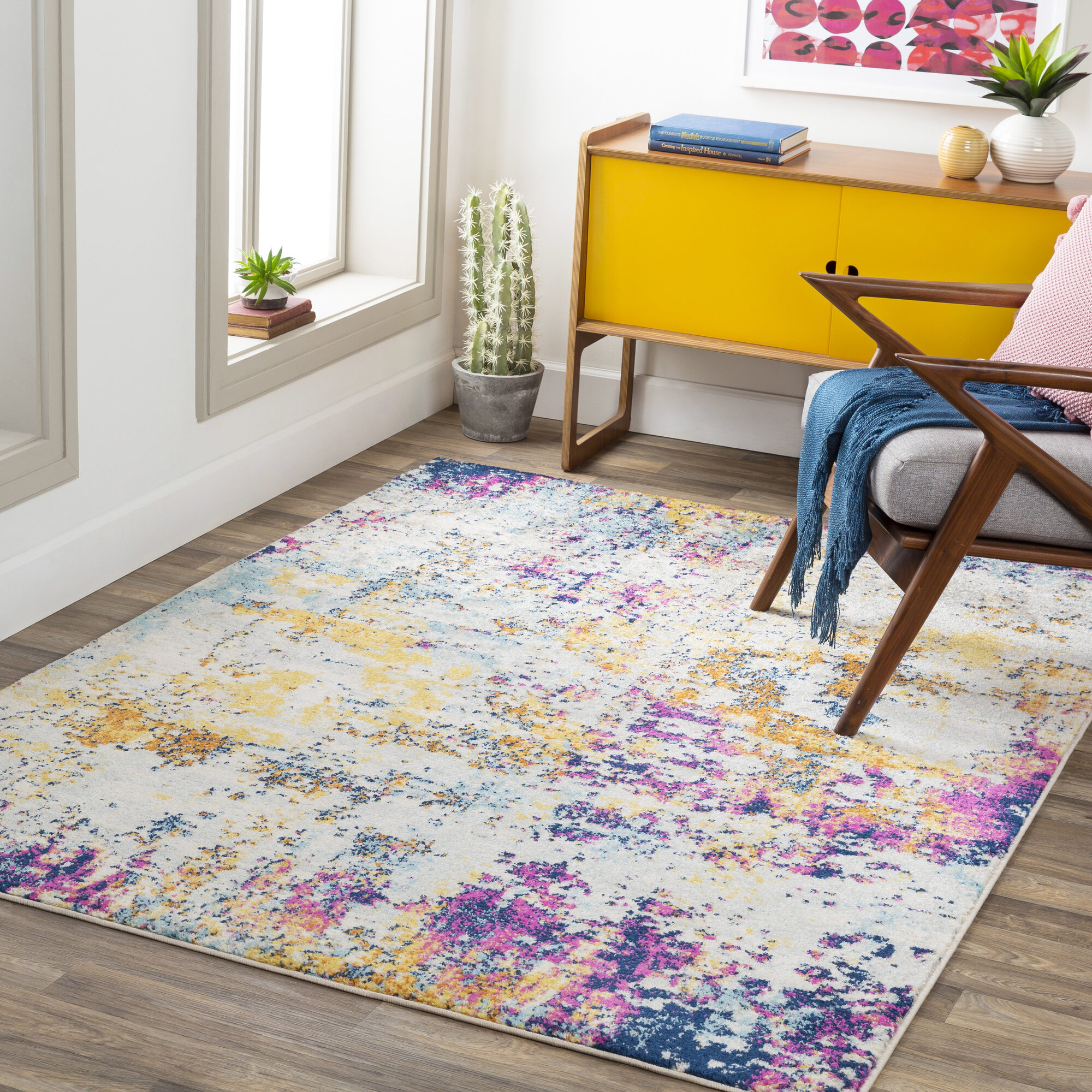 17 Stories Aubuchon Abstract Yellow Purple Blue Area Rug Reviews Wayfair