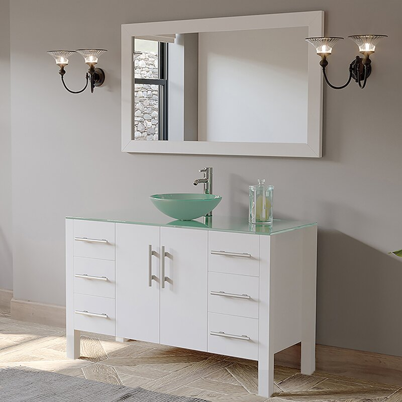 Wrought Studio Sharee 48 Single Bathroom Vanity Set With Mirror Wayfair