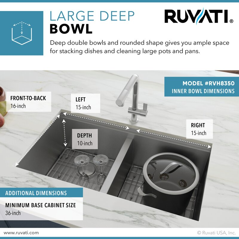 Ruvati Roma Workstation Ledge 33 L X 19 W Double Basin Undermount Kitchen Sink Reviews Wayfair