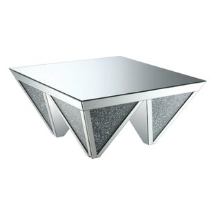Morrell Contemporary Geometric Shaped Mirrored Coffee Table
