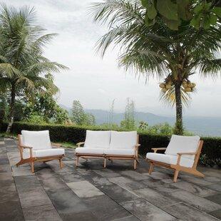 Berube 3 Piece Teak Sofa Seating Group with Cushions