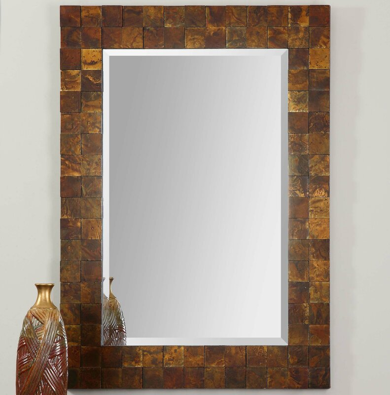 Rectangular Wall Mirror loon peak mosaic rectangle copper wall mirror & reviews | wayfair