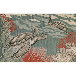 Ricki Seaturtles Ocean Gray Indoor/Outdoor Area Rug