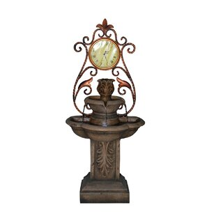 OK Lighting Polyresin Clock Fountain with LED Light