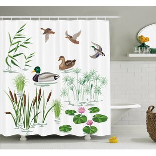 Oak Lake Animals Plants Lily Shower Curtain + Hooks